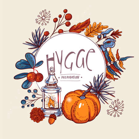 Hygge Illustration, Cozy autumn orange maple leaves, flowers, Pine cone, berries, pumpkin, lantern and butterflies, vector vintage hand drawn greeting card on black background 写真素材 - 132048691