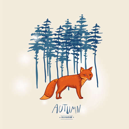 Red fox and coniferous forest. Autumn vector vintage hand drawn greeting card, natural elements.  イラスト・ベクター素材
