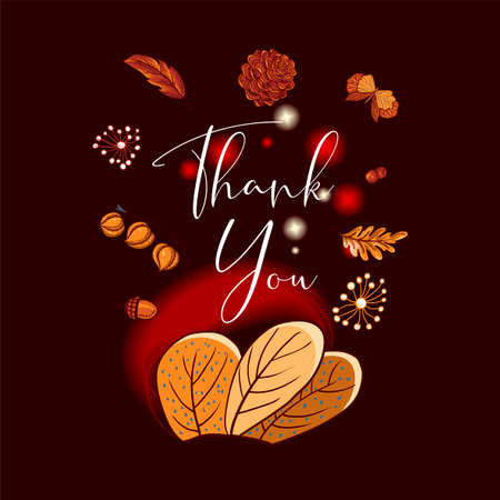 Cozy autumn greeting card, orange leaves, flowers, pine cone, berries, pumpkin, lantern and butterflies, vector thank you Illustration 写真素材 - 132048454