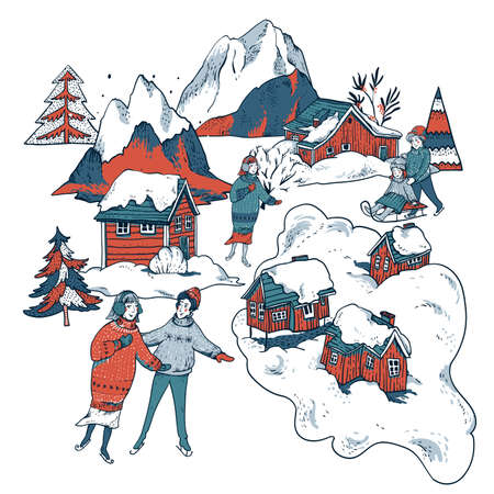Vintage ?hristmas illustration in scandinavian style of winter red houses covered with snow, people sledding, ice skating on a rink. Snow outdoor activities, enjoying winter holidays Banque d'images - 133111631