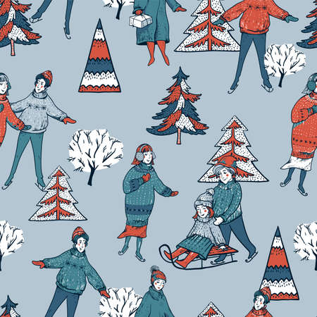 Ð¡hristmas seamless pattern, winter vintage christmas tree, people sledding, ice skating on a rink. Happy New Year natural background, scandinavian style