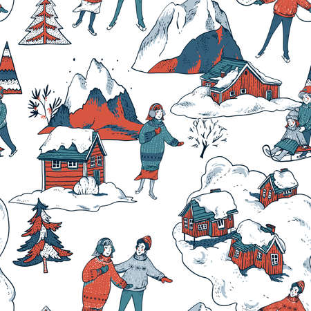 Vintage Ð¡hristmas seamless pattern in scandinavian style of winter red houses covered with snow, people sledding, ice skating on a rink. Snow outdoor activities, winter holidays background Illusztráció