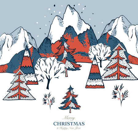 Ð¡hristmas illustration, winter vintage mountains landscape, Happy New Year natural greeting card, scandinavian style 일러스트