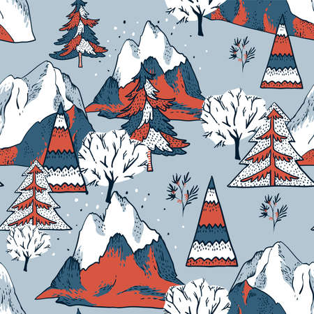 Ð¡hristmas illustration, winter vintage mountains landscape, Happy New Year natural background, scandinavian style