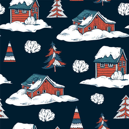 Ð¡hristmas seamless pattern, winter red houses covered with snow in scandinavian style, Happy New Year natural background, vintage mountains landscape