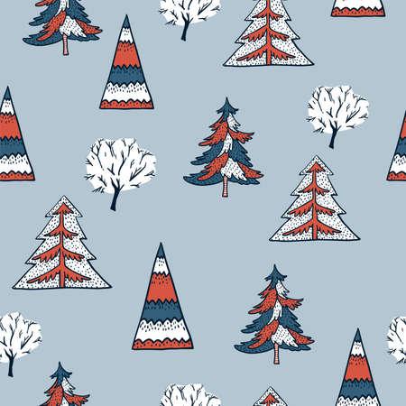 Ð¡hristmas seamless pattern, winter vintage christmas tree, Happy New Year natural background, scandinavian style