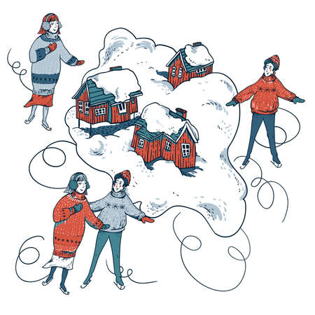 Vintage Ð¡hristmas illustration in scandinavian style of winter red houses covered with snow, people sledding, ice skating on a rink. Snow outdoor activities, enjoying winter holidays Banque d'images - 133115896