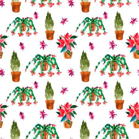 Watercolor Christmas Houseplants Seamless Pattern, Christmas Cactus, Thanksgiving Cactus, Poinsettia, Thuja Natural Texture on White Background. Stock fotó