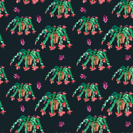 Watercolor Seamless Pattern of Christmas Cactus, Thanksgiving cactus, Blooming Flowers Schlumbergera on Black Background, Pink Floral Zygocactus Texture for Holidays Design