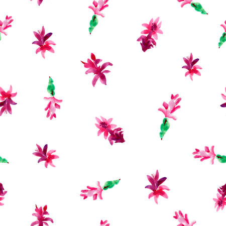 Watercolor Pink Christmas Cactus Seamless Pattern, Blooming Flowers Schlumbergera on White Background, Floral Zygocactus Texture. Stock fotó