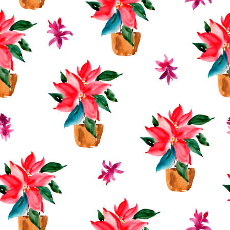 Watercolor Christmas Seamless Pattern of Red Poinsettia in a Brown Clay Pot, Natural Textureon White Background for Holidays Design Stock fotó