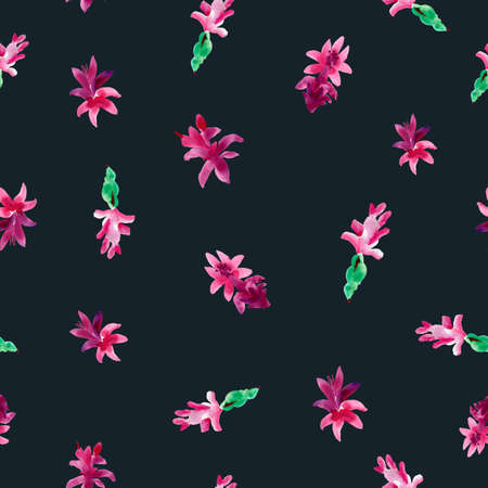 Watercolor Pink Christmas Cactus Seamless Pattern, Blooming Flowers Schlumbergera on Black Background, Floral Zygocactus Texture.