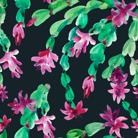 Watercolor Blooming Christmas Cactus Seamless Pattern, Thanksgiving cactus, Flowers Schlumbergera on Black Background, Pink Floral Zygocactus Texture for Holidays Design
