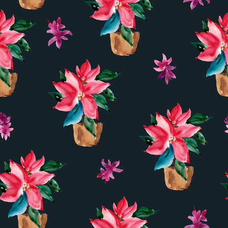 Watercolor Christmas Seamless Pattern of Red Poinsettia in a Brown Clay Pot, Natural Textureon Black Background for Holidays Design