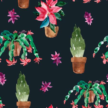 Watercolor Christmas Houseplants Seamless Pattern, Christmas Cactus, Thanksgiving Cactus, Poinsettia, Thuja Natural Texture on Black Background.