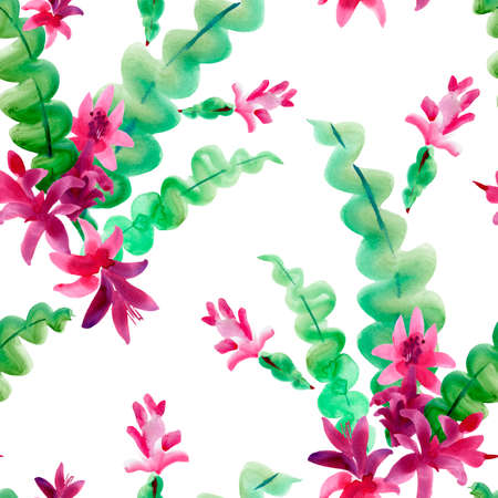Watercolor Blooming Christmas Cactus Seamless Pattern, Thanksgiving cactus, Flowers Schlumbergera on White Background, Pink Floral Zygocactus Texture for Holidays Design Stock fotó