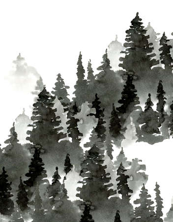 Black and White Watercolor Silhouette of Conifer Tree, Monochrome Winter Woodland, Forest Landscape with Pine and Fir Trees, Natural Template