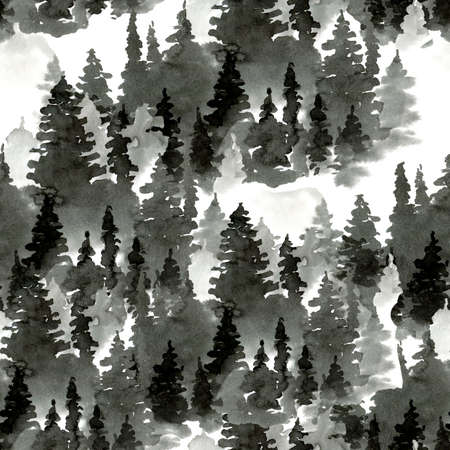 Black and White Watercolor Seamless Pattern of Conifer Tree, Monochrome Winter Woodland, Forest Landscape with Pine and Fir Trees, Natural Texture Stock fotó