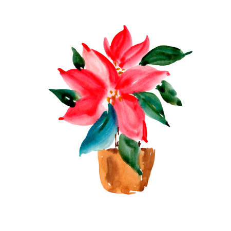 Watercolor Christmas Red Poinsettia in a Brown Clay Pot, Natural Collection Isolated on White Background for Holidays Design Stock fotó