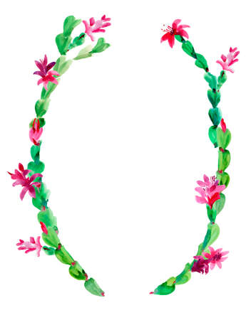 Watercolor Christmas Cactus Wreath, Thanksgiving cactus Frame, Blooming Flowers Schlumbergera Isolated on White Background, Pink Floral Zygocactus Illustration for Holidays Design Stock fotó