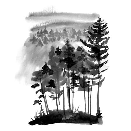 Winter Black and White Watercolor Silhouette of Conifer Tree, Monochrome Snow Woodland, Forest Landscape with Pine and Fir Trees, Natural Template