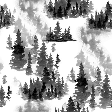 Winter Black and White Watercolor Seamless Pattern of Conifer Tree, Monochrome Snow Woodland, Forest Landscape with Pine and Fir Trees, Natural Texture