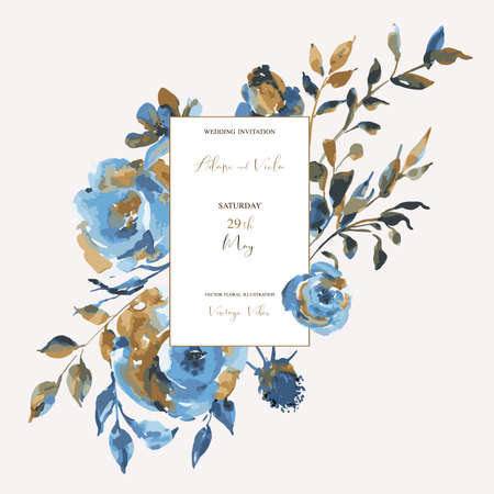 Abstract turquoise roses, wildflowers, vintage greeting card. Natural blue floral design elements on white background. Wedding decoration, Bohemian invitation