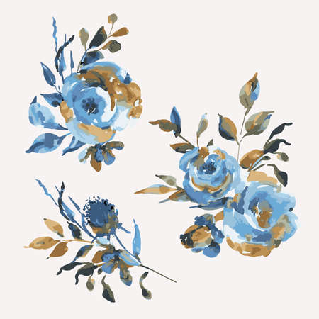 Set of bouquets turquoise roses, wildflowers, vintage design elements. Natural blue flowers on white background. Wedding decoration