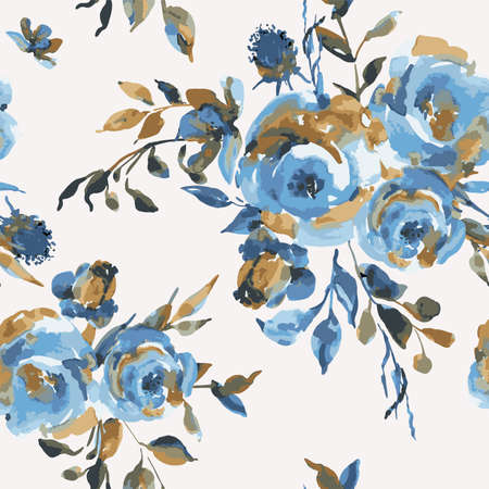 Vector vintage seamless pattern with turquoise roses, wildflowers. Natural blue floral texture on white background. Wedding decoration, botanical illustration Illusztráció