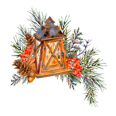 Watercolor vintage Christmas greeting card with rustic lantern, spruce branches, pine cones, berries. Natural illustration isolated on white background.