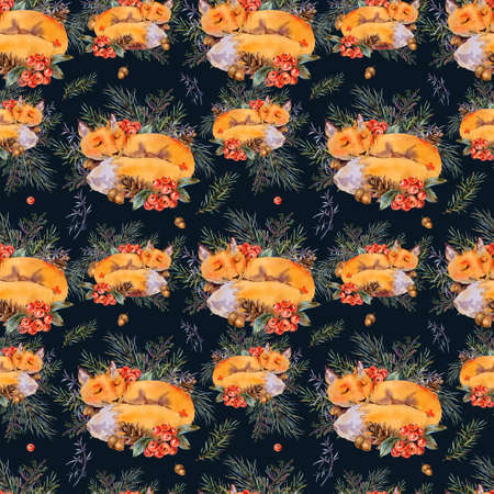 Watercolor woodland fox seamless pattern, Sleeping fox in the forest. Spruce branch, berries, pine cone and autumn leaves. Natural textured on black background Stock fotó