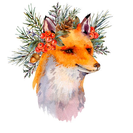 Watercolor woodland fox greeting card, Cute fox with forest wreath. Spruce branch, berries, pine cone and autumn leaves. Natural illustration isolated on white background