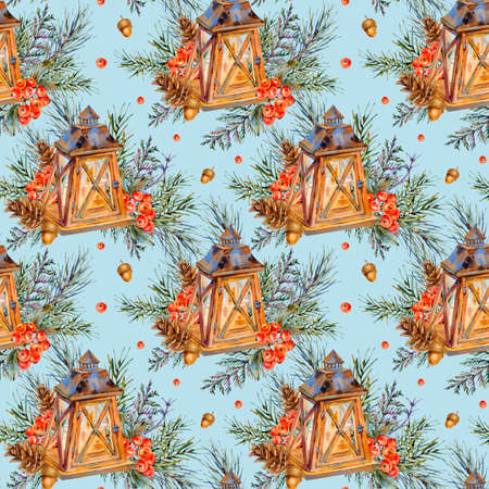 Watercolor vintage Christmas seamless pattern with rustic lantern, spruce branches, pine cones, berries. Natural holiday illustration on blue background.