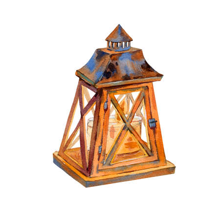 Watercolor vintage wooden lantern, rustic illustration isolated on white background.