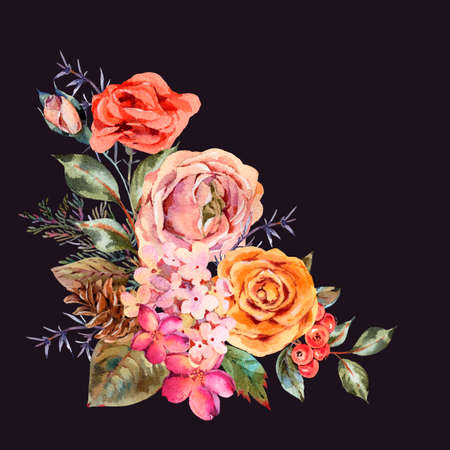 Watercolor vintage greeting card with rose, hydrangea, pinecones, red berries and wildflowers. Natura botanical illustration isolated on black background.