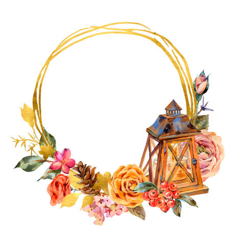 Watercolor floral gold frame with vintage wooden lantern, roses and wildflowers. Rustic illustration isolated on white background.