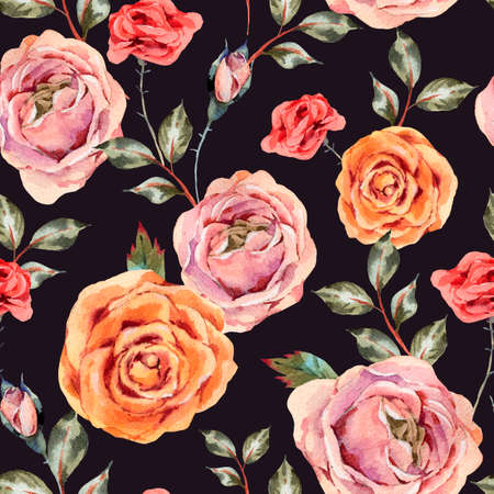 Watercolor vintage floral seamless pattern with roses, leaves and buds. Natural flowers texture on black background