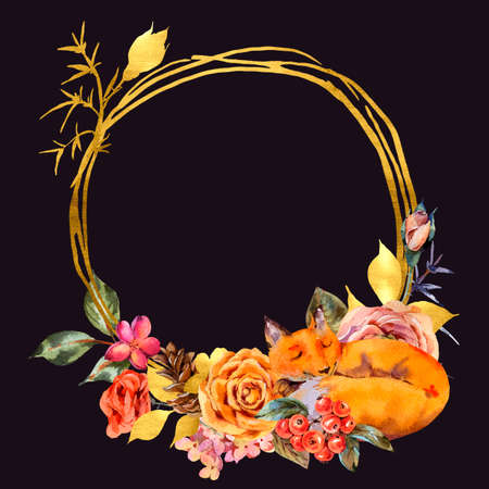 Watercolor floral gold frame with sleeping fox, Rose, berries, pine cone and wildflowers. Natural illustration isolated on black background Stock fotó
