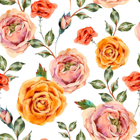 Watercolor vintage floral seamless pattern with roses, leaves and buds. Natural flowers texture on white background