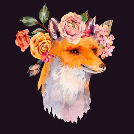 Watercolor floral woodland fox greeting card, roses, hydrangea, wildflowers. Natural illustration isolated on black background
