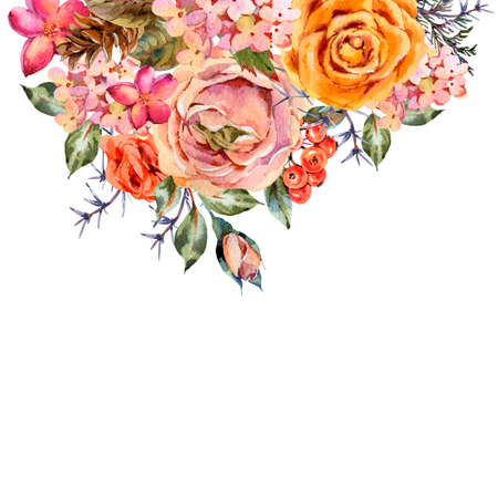 Watercolor vintage greeting card with rose, hydrangea, pinecones, red berries and wildflowers. Natural botanical illustration isolated on white background.
