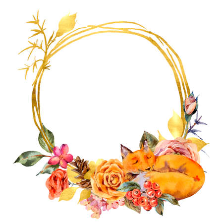 Watercolor floral gold frame with sleeping fox, Rose, berries, pine cone and wildflowers. Natural illustration isolated on white background