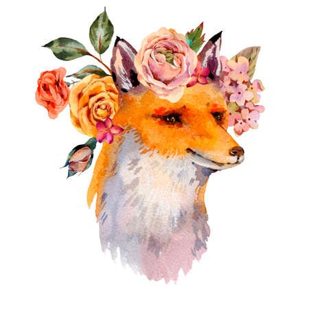 Watercolor floral woodland fox greeting card, roses, hydrangea, wildflowers. Natural illustration isolated on white background