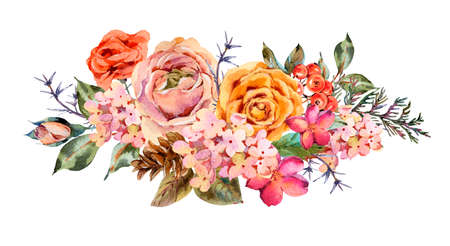 Watercolor vintage greeting card with rose, hydrangea, pinecones, red berries and wildflowers. Natura botanical illustration isolated on white background. Stock fotó
