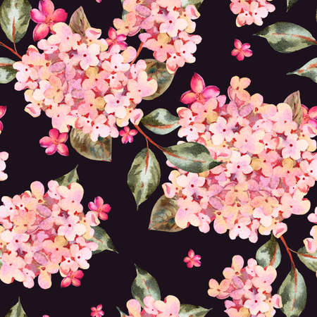 Watercolor seamless pattern with pink blooming hydrangea, small wildflowers. Natural botanical floral texture on black background, Summer Flowers