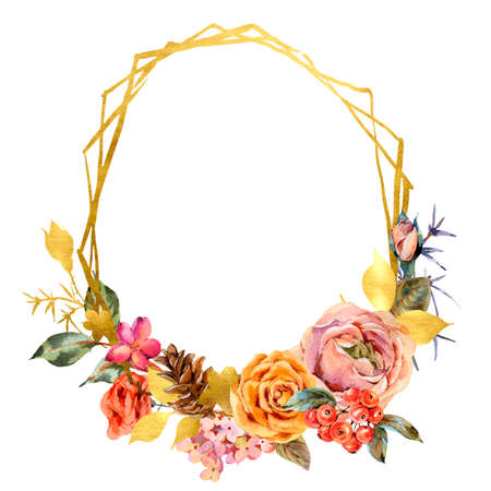 Watercolor floral golden frame with vintage roses and wildflowers. Rustic illustration isolated on white background.