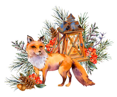 Watercolor woodland fox greeting card, Cute fox, Rustic lantern, Spruce branch, berries, pine cone and autumn leaves. Natural illustration isolated on white background. Christmas Decor