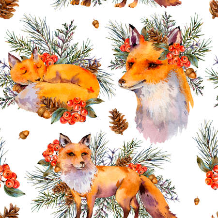 Watercolor woodland fox seamless pattern, Cute fox with forest wreath. Spruce branch, berries, pine cone and autumn leaves. Natural texture of forest animals on white background