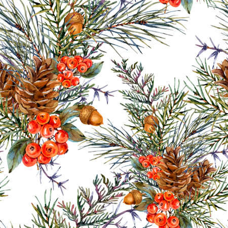 Watercolor winter seamless pattern with bouquet of spruce branches, pine cones, acorn, red berries. Natural Christmas texture on white background.
