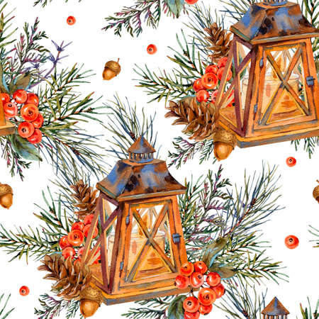 Watercolor vintage Christmas seamless pattern with rustic lantern, spruce branches, pine cones, berries. Natural holiday illustration on white background.